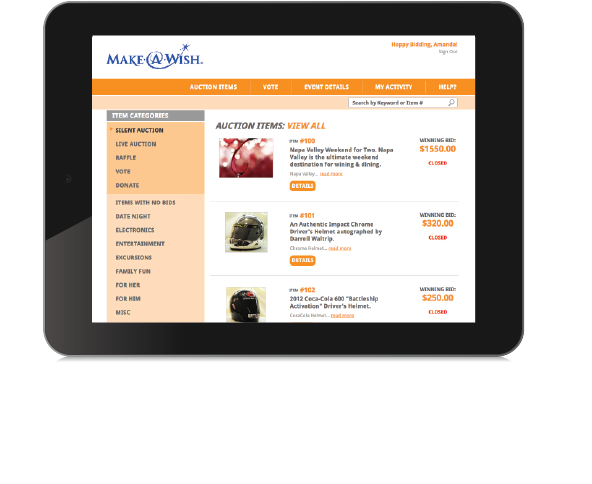 Mobile Bidding on Tablet Device