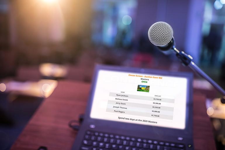 Qtego Virtual Fundraising Events Emcee Screen